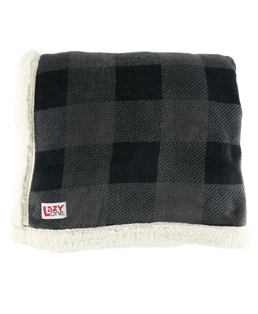 Grey Plaid  Sherpa Throw Blanket - Lazy One®